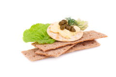 Crackers with fresh vegetables and butter Stock Photography