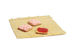 Crackers with  gentle sauce and red caviar Stock Photo