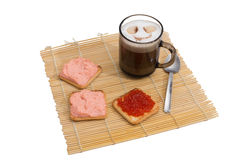Crackers with  gentle sauce and red caviar Royalty Free Stock Images