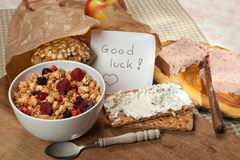 Crackers and good luck note Royalty Free Stock Photo