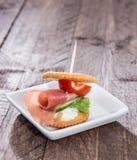 Crackers with Ham Stock Image