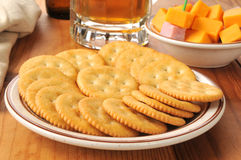 Crackers with ham and cheese Royalty Free Stock Photo