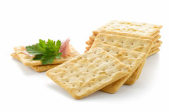 Crackers with Ham. On white background Royalty Free Stock Images