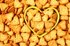Crackers. Heart shaped crackers close-up view Royalty Free Stock Photo