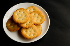 Crackers. Isolate on black background Royalty Free Stock Images