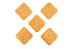 Crackers on an isolated background. Top view Stock Images