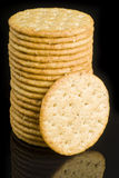 Crackers Isolated on Black Stock Photography