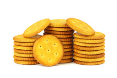 Salty snacks, circular crackers. Stock Images