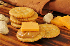 Crackers iwth peanut butter and cheese Stock Photography