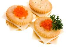 Crackers met kaas stock afbeelding