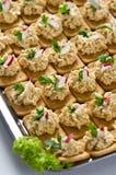 Crackers met vissen  Stock Afbeeldingen