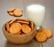 Crackers and milk Stock Photo