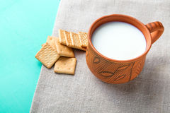 Crackers with milk Royalty Free Stock Images