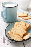 Crackers  and  mug of milk Royalty Free Stock Photo