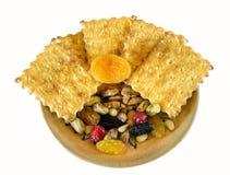 Crackers, noten en gedroogd fruit Royalty-vrije Stock Afbeelding