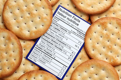 Crackers nutrition facts Stock Photography