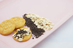 Crackers with oat and chocolate. Crackers with oat, chocolate and sweetened condensed milk placed on pink plate Stock Images