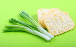 Crackers with onion. Stock Photography