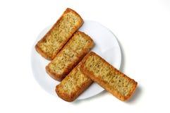 Crackers op een plaat. Stock Afbeeldingen