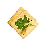 Crackers with parsley Royalty Free Stock Image
