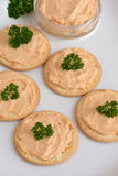 Crackers with pate shallow DOF Stock Images