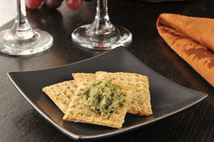 Crackers with pesto Royalty Free Stock Photography