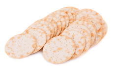 Crackers. Pile of crackers isolated on white background Royalty Free Stock Image