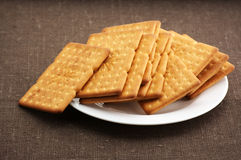 Crackers in plate Stock Photography
