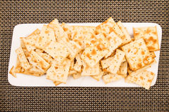 Crackers on a plate Stock Photography