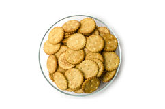 Crackers on a plate. On a white background Royalty Free Stock Images