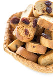 Crackers with raisins close-up. Royalty Free Stock Image