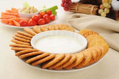 Crackers with ranch dressing Stock Images