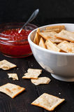 Crackers and red caviar Royalty Free Stock Images