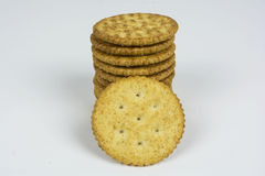 Crackers,. Ritz crackers stacked with one leaning against them Royalty Free Stock Images