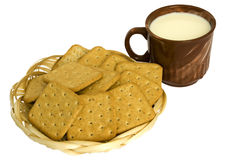 Crackers with rye brans and milk Royalty Free Stock Image