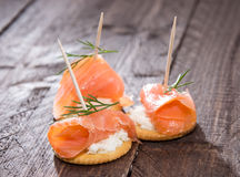 Crackers with Salmon and Dill Stock Image