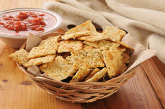 Crackers with salsa Stock Image