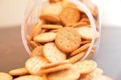 Crackers snack cookies. Snack crackers baked brown Stock Photo