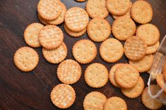Crackers snack cookies. Snack crackers baked brown Royalty Free Stock Photo