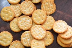 Crackers snack cookies. Snack crackers baked brown Stock Photography