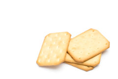 Crackers stacked isolated on white background Royalty Free Stock Images