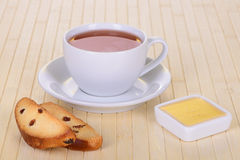 Crackers with tea Stock Photography