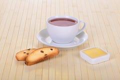 Crackers with tea Stock Photos