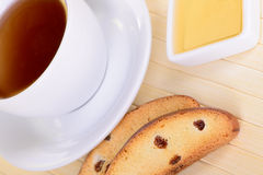 Crackers with tea Stock Image