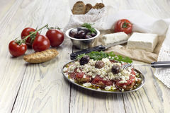 Crackers with tomatoes and feta cheese royalty free stock photo