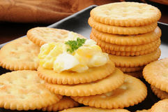 Crackers topped with deviled egg Royalty Free Stock Images