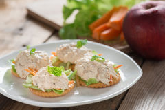 Crackers with tuna salad. Stock Image