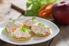 Crackers with tuna salad. Stock Image