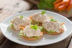 Crackers with tuna salad. Royalty Free Stock Images