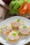 Crackers with tuna salad. Royalty Free Stock Photo